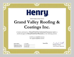 Henry Gold Seal Authorized Contractor